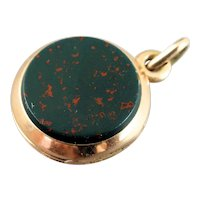 Victorian 14K Rose Gold Bloodstone Carnelian Locket Pocket Watch Fob