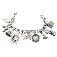 Heavy Vintage Sterling Silver Charm Graduation Bracelet 1957 Dime Charm