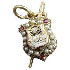 10K Gold Diamond Ruby Pearl Sorority Charm - 3.90 Grams