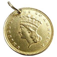 1859 $1.00 Dollar Princess Gold Coin Charm