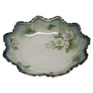 """10"""" R S Prussia Bowl With White Christmas Flowers Dogwood And Pine"""