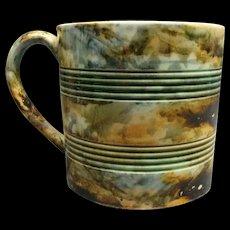 Rare Staffordshire Marbleized Pearlware Mug With Turnings Ca 1815