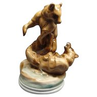 "11 3/4"" Zsolnay Hungarian Fighting Bears Porcelain Figurine"