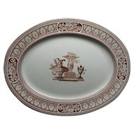 "Large 20"" Staffordshire Transfer Platter Vase Pattern Ca 1870"