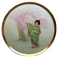 "Antique 13"" Delinieres & Co. Limoges Tray With Geisha Girl & Cherry Blossoms"