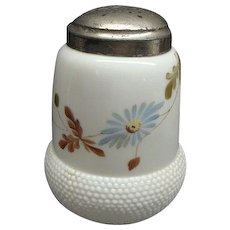 Victorian Milk Glass Sugar Shaker With Enameled Flowers