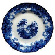 """Staffordshire Flow Blue 7 1/2"""" Columbia Pattern Plate Ca 1846 #3"""