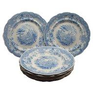 8 Staffordshire Transferware Dinner Plates Tyrolean Ca 1830