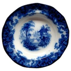 """10 1/2"""" Staffordshire Flow Blue Columbia Pattern Flat Soup Plate Ca 1846"""