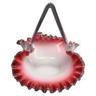 Victorian Cased Cranberry Art Glass Brides Basket Ca 1870