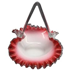 Victorian Cased Cranberry Art Glass Brides Basket Ca 1870