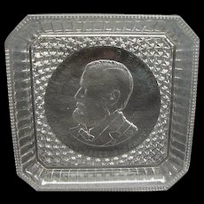 EAPG Historical Ulysses S Grant Commemorative Square Glass Plate Bryce Higbee Ca 1885