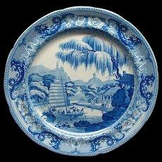 8 Davenport Staffordshire Pearlware Plates Chinese Harbor Scene Ca 1815
