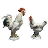 Miniature Meissen Porcelain Rooster and Chicken Figurines
