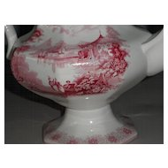 Transferware Red & White Coffee Pot  - English