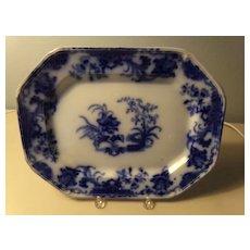 Flow Blue Platter in the Carlton Pattern