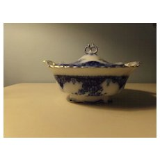 Flow Blue Covered Tureen in Arley Pattern
