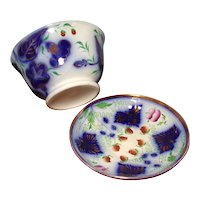 Strawberry Brush Stroke Waste Bowl and Saucer