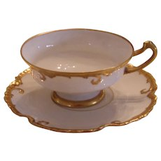 Cups and Saucers with Gold Trim - Limoges, France