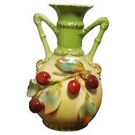 Austrian Porcelain Vase with Cherries