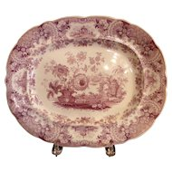 Staffordshire Purple and White Platter - Japan Flowers
