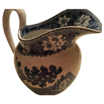 Blue and white Staffordshire jug in Elephant design