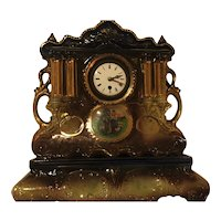 English Clock in Dark Blue and Gold Trim