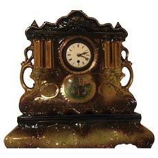 English Clock in Dark Blue and Gold Trim