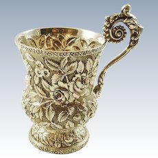 Antique Sterling Silver Cup by A G Schultz C 1880  Repousee Work Ornate Handle