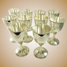 Sterling Silver Goblets Set of Ten by Kirk 68 Troy Ounces