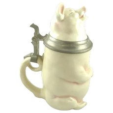 Antique Figural German Beer Ale Stein In Form of Pig by C.G.Schierholz & Sohn Musterschutz Mark