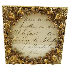 Antique Picture Photo Frame Embossed Brass