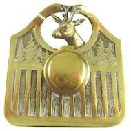 Vintage Brass Inkwell Ink Pot with Stags Head Sporting Life