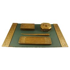Tiffany Studio Bronze Desk Set With Blotter and Five Accessories