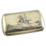 Antique French Silver Niello Snuff Box with Gilt Interior Steeplechase Scene