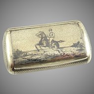 Antique French Silver Niello Snuff Box with Gilt Interior Steeplechase Scene