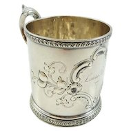 Antique Coin Silver Child's Cup Christening Mug
