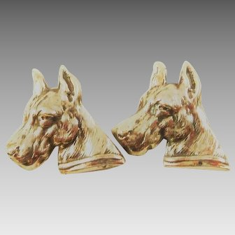 A Pair of Vintage Silver Dog Brooches Great Danes Jewelry
