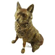 Antique Cold Painted Figural Inkwell in the Form of a Sitting Fox