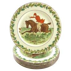 Wedgwood Plates with Hunt Theme Dessert Salad Sporting Life Set of Six