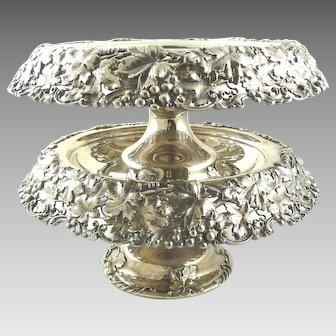 Antique Whiting Sterling Silver Pair of Dessert Compotes Grapes Vine & Leaf Design