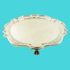 Antique English Sterling Silver Salver/Tray, Ball & Claw Feet, 21 Troy ounces