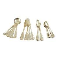 Tiffany & Co Sterling Silver Dinner Service,  Shell & Thread Pattern,  Twenty-Four Piece Flatware Set