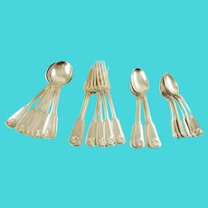 Tiffany & Co Sterling Silver Dinner Service,  Shell & Thread Pattern,  Twenty-Four Piece Flatware Set
