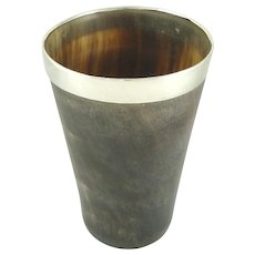 Antique English Sterling Silver & Horn Cup or Beaker Birmingham 1892