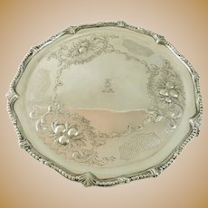 Antique Sterling Silver Salver Exceptional Design with Crest Armorial S Kirk & Son