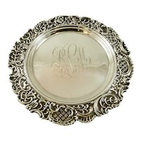Antique Sterling Silver Ornate Tray with Scroll Border by Mauser NY