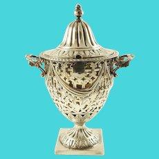 Antique English Sterling Silver Sugar Bowl, Edwardian Era with Pierced Work