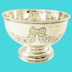 Antique English Sterling Silver Bowl, Floral Swags and Ribbon Motifs