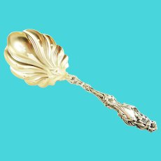 Whiting  Sterling Silver & Gold Wash Pierced Pea Server in the Lily Pattern